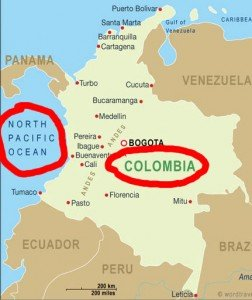 Colombia and Pacific ocean