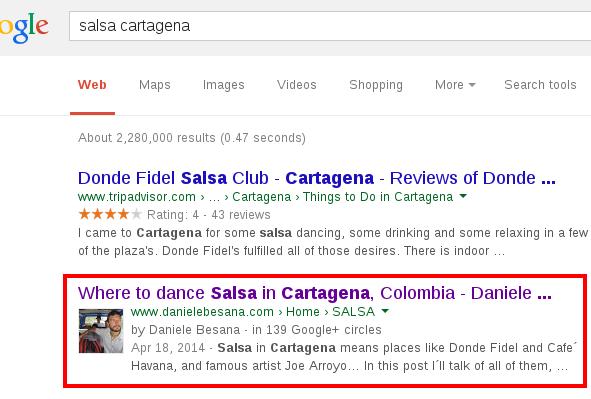 Salsa Cartagena Google SERP